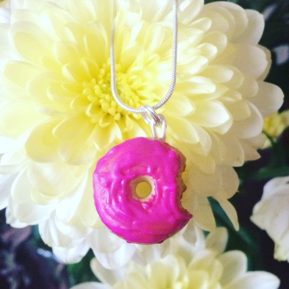 Donut with bite taken out necklace doughnut by MadeBySerendipity