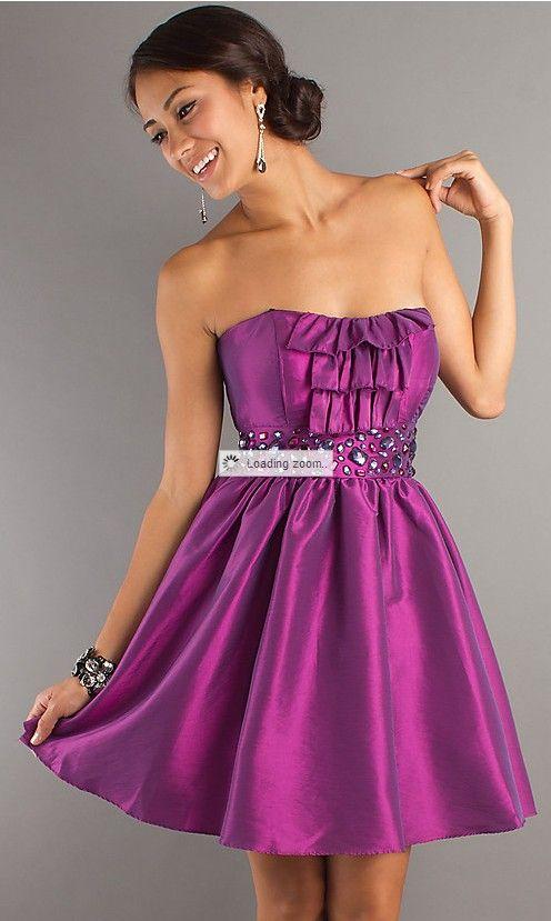 79e78691d3a $165.00 Cheap Free Shipping A-line Strapless Butterfly Bow Belt Taffeta  Beaded Party Dresses 2012 at Weddingdressunion.com