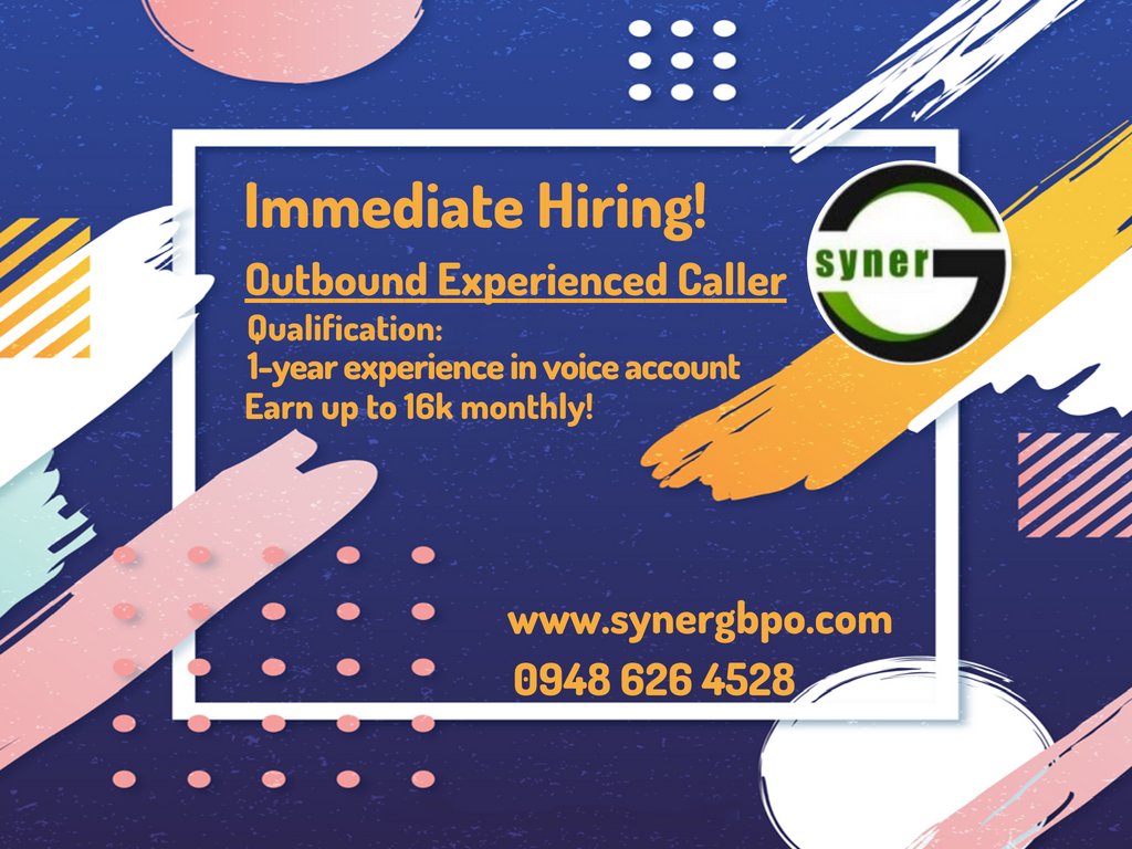 We are currently hiring for Outbound Customer Service