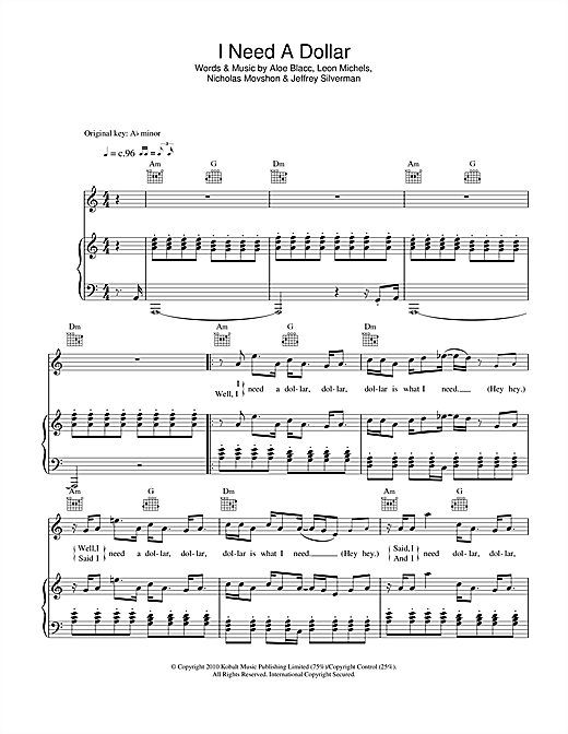 Download Aloe Blacc I Need A Dollar Sheet Music Notes And Chords For Piano Vocal