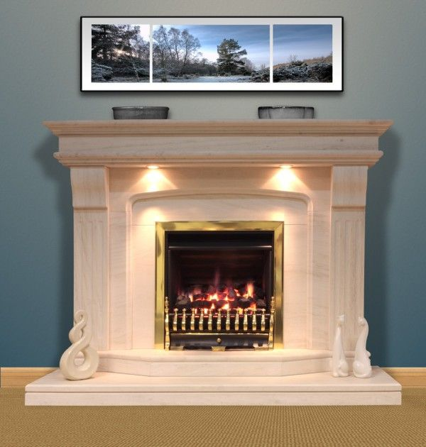 Attractive Gorgeous Cast Limestone Fireplace Surround Using Brass Fireplace .