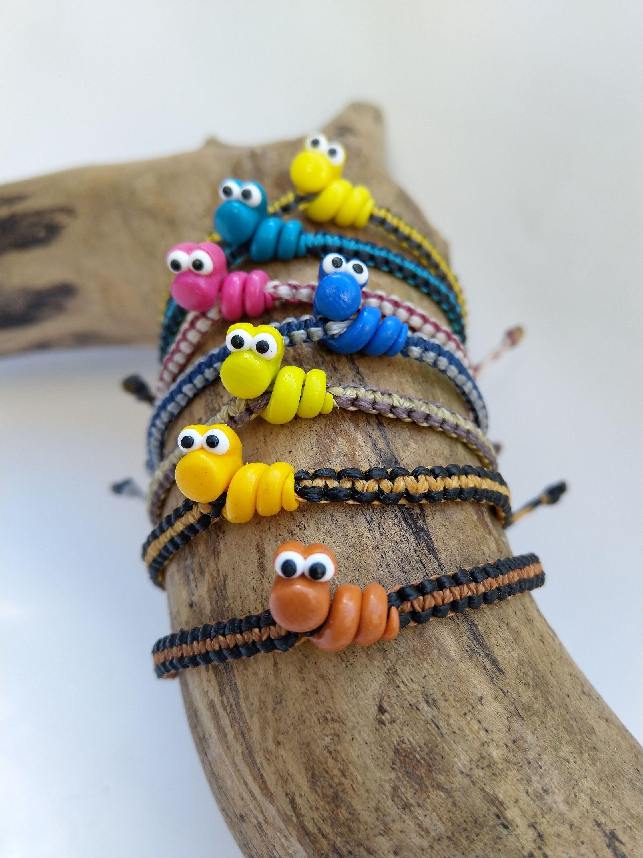 Photo of Macrame bracelet with fimo worm, childrens bracelet
