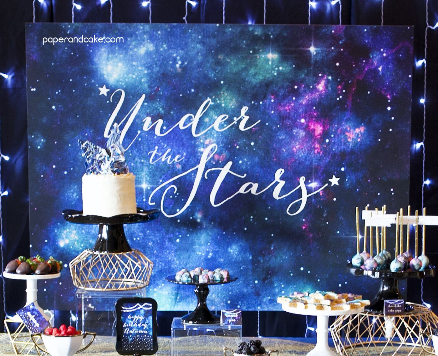 Blue Galaxy Birthday Banner Party Decoration Backdrop