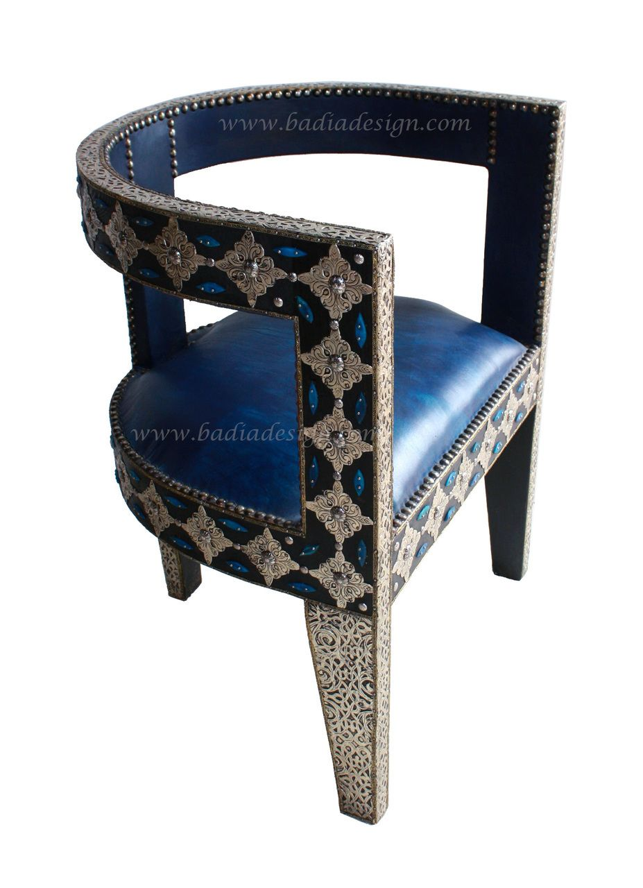 Badia Design Inc Store   Moroccan Leather Chair With Metal And Bone    MB CH017