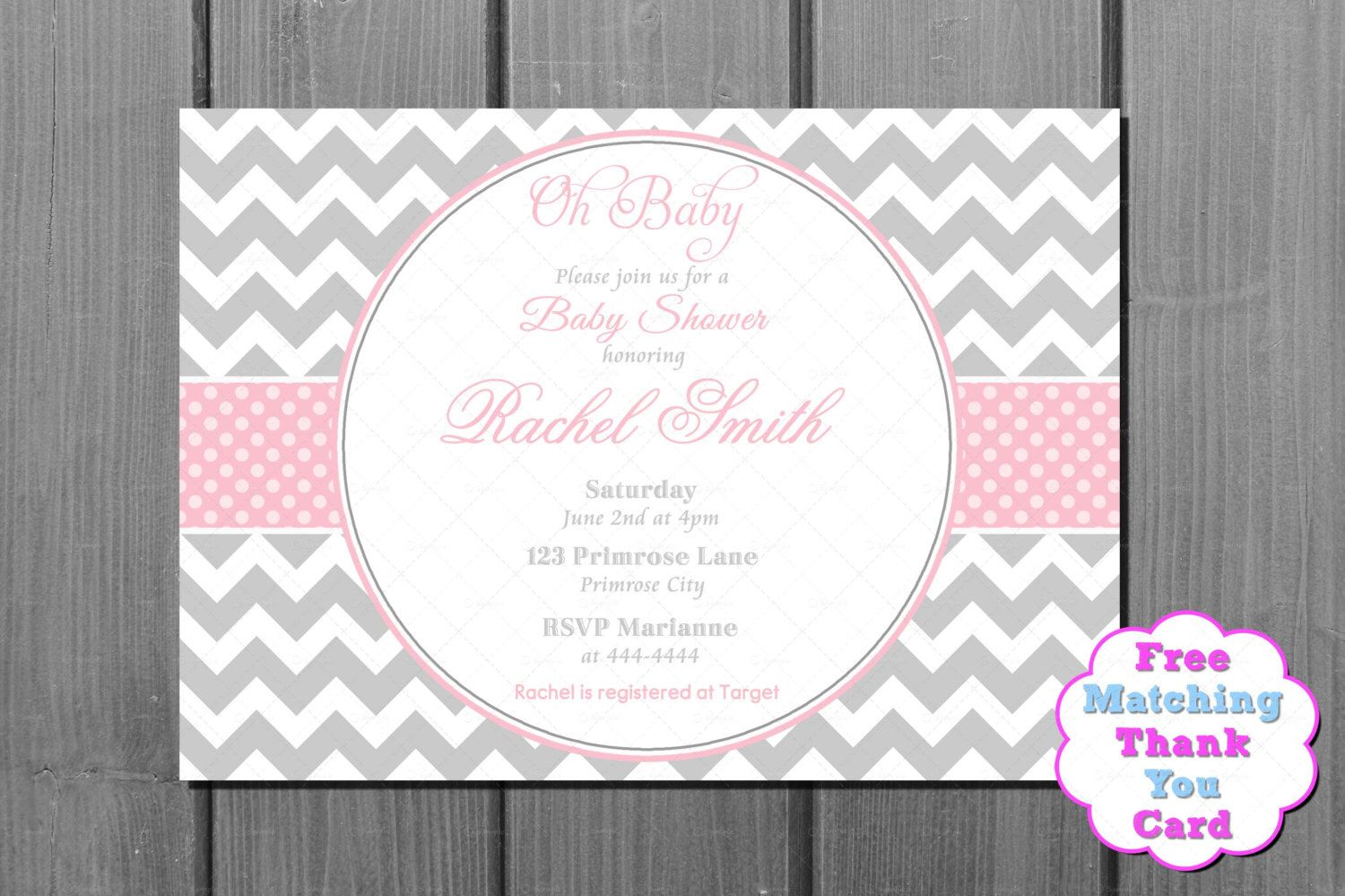Pink and Grey Chevron Baby Shower Invitation - Pink Baby Shower ...