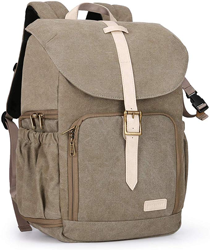 Travel Camera Backpack Photography Bag for SLR DSLR Cameras 15 Laptop with Waterproof Rain Cover Tripod Holder Color : Grey