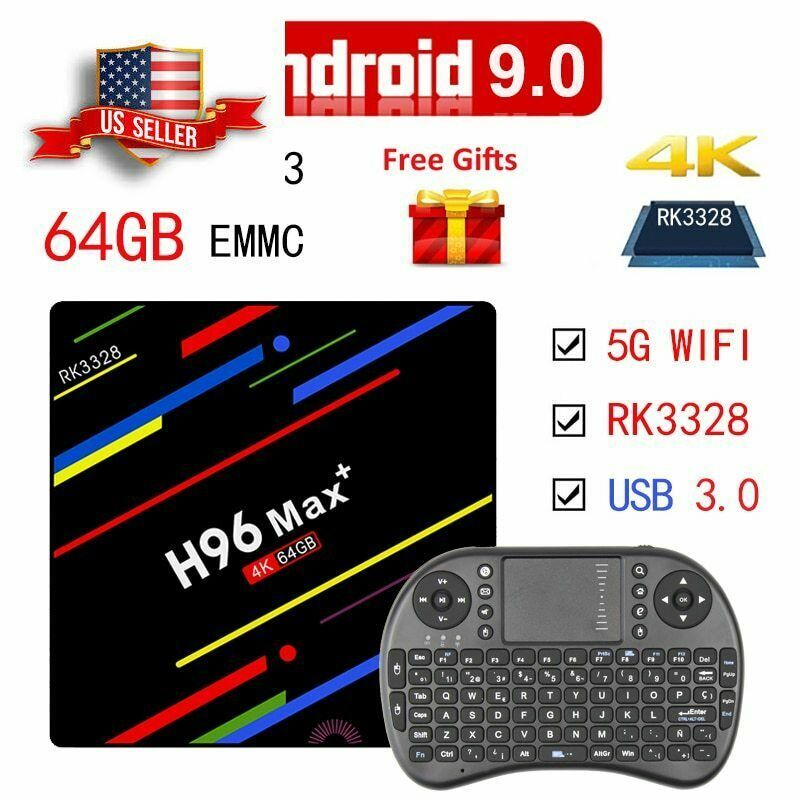 Android 9 0 Smart TV Box Free TV and Channels Gaming Wifi Remote for