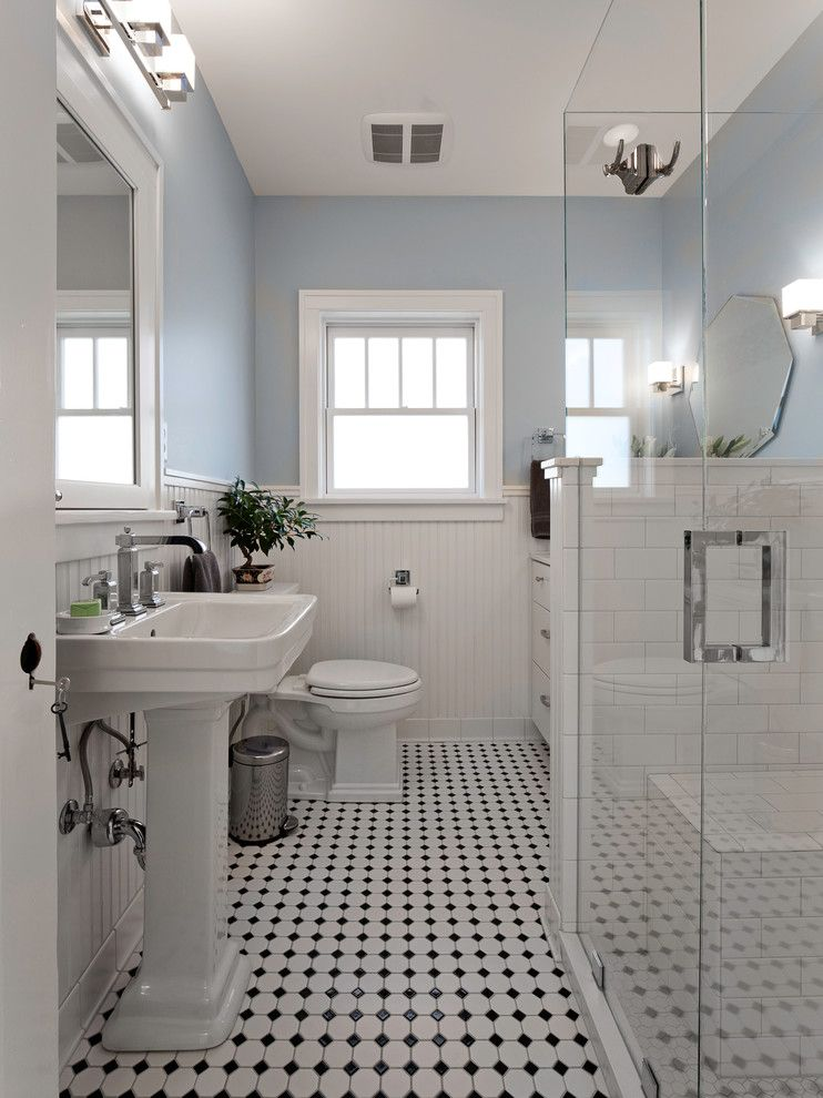 Bathroom Design Ideas With Beadboard blue and white bathroom bathroom victorian with black white