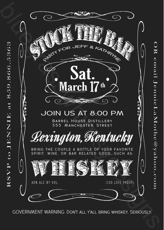 Stock The Bar/ Kitchen Couples Shower Jack Daniels Label Invitation by BluegrassWhimsy, $15.00
