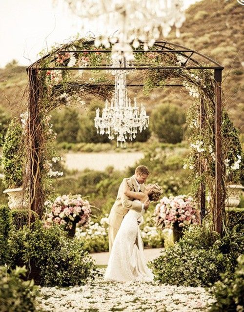 Wedding arch with chandelier! Love this rustic elegant look. #weddingarch #weddingdecor #rusticwedding