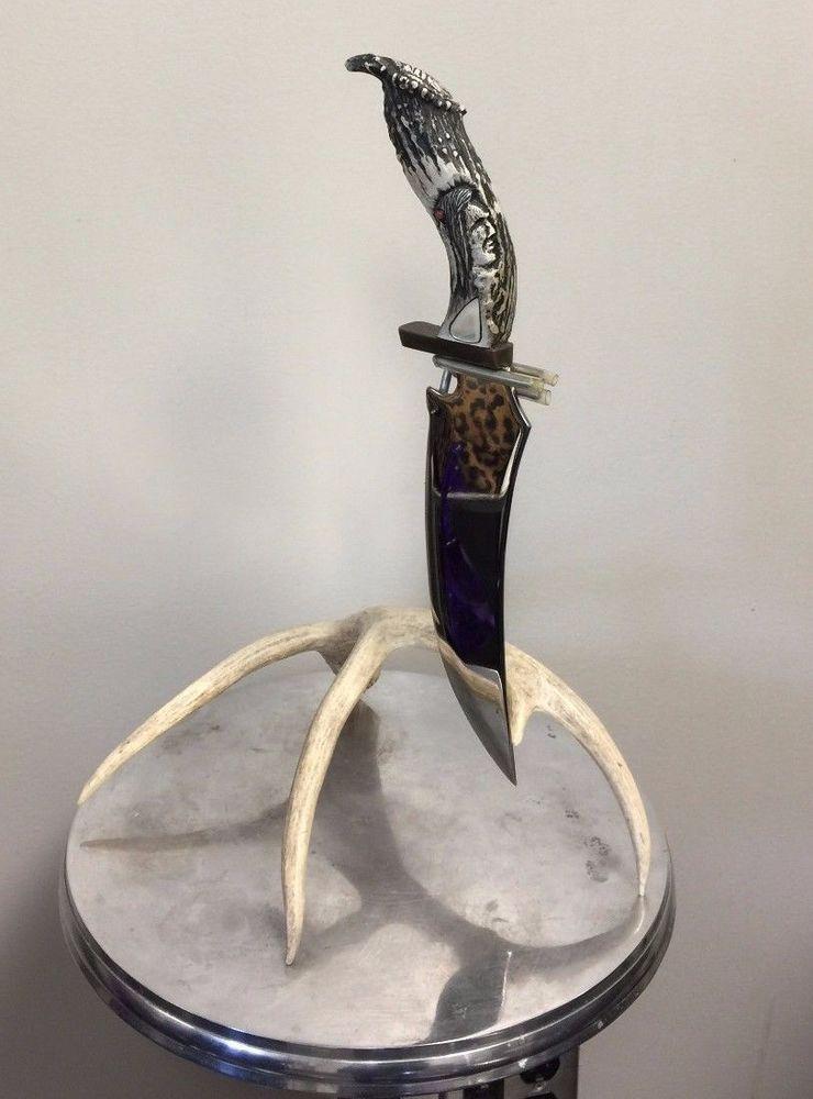 Vtg Ted Miller Knife Custom signed Carved Native American Antler HUGE Dagger #TedMiller
