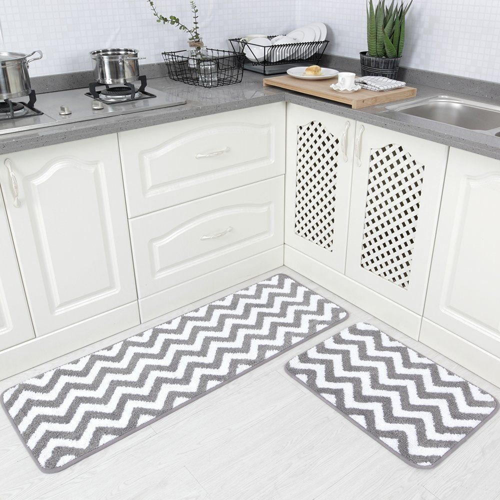 Grey Kitchen Mat Rolling Island Carvapet 2 Pieces Microfiber Chevron Non Slip Soft Bath Rug Doormat Runner Carpet Set