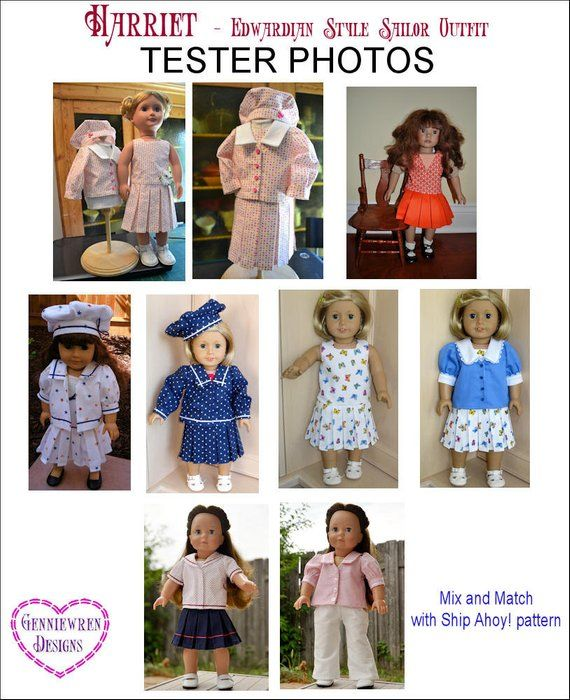 """Pixie Faire Genniewren Designs Harriet - Edwardian Style Sailor Outfit Doll Clothes Pattern - Fits 18"""" Dolls such as American Girl - PDF"""