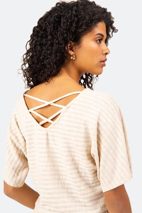 Charlise Caged Back Top - Cream - Size XL