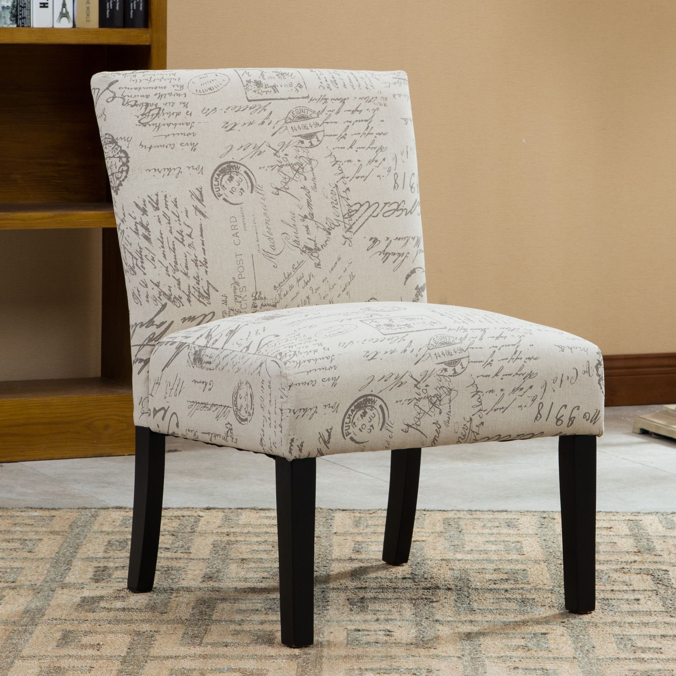 Botticelli English Letter Print Fabric Armless Contemporary Accent Chair  (English Letter), Beige