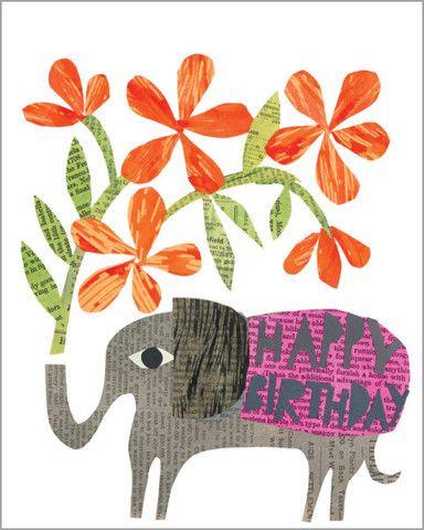 Happy birthday elephant with flowers
