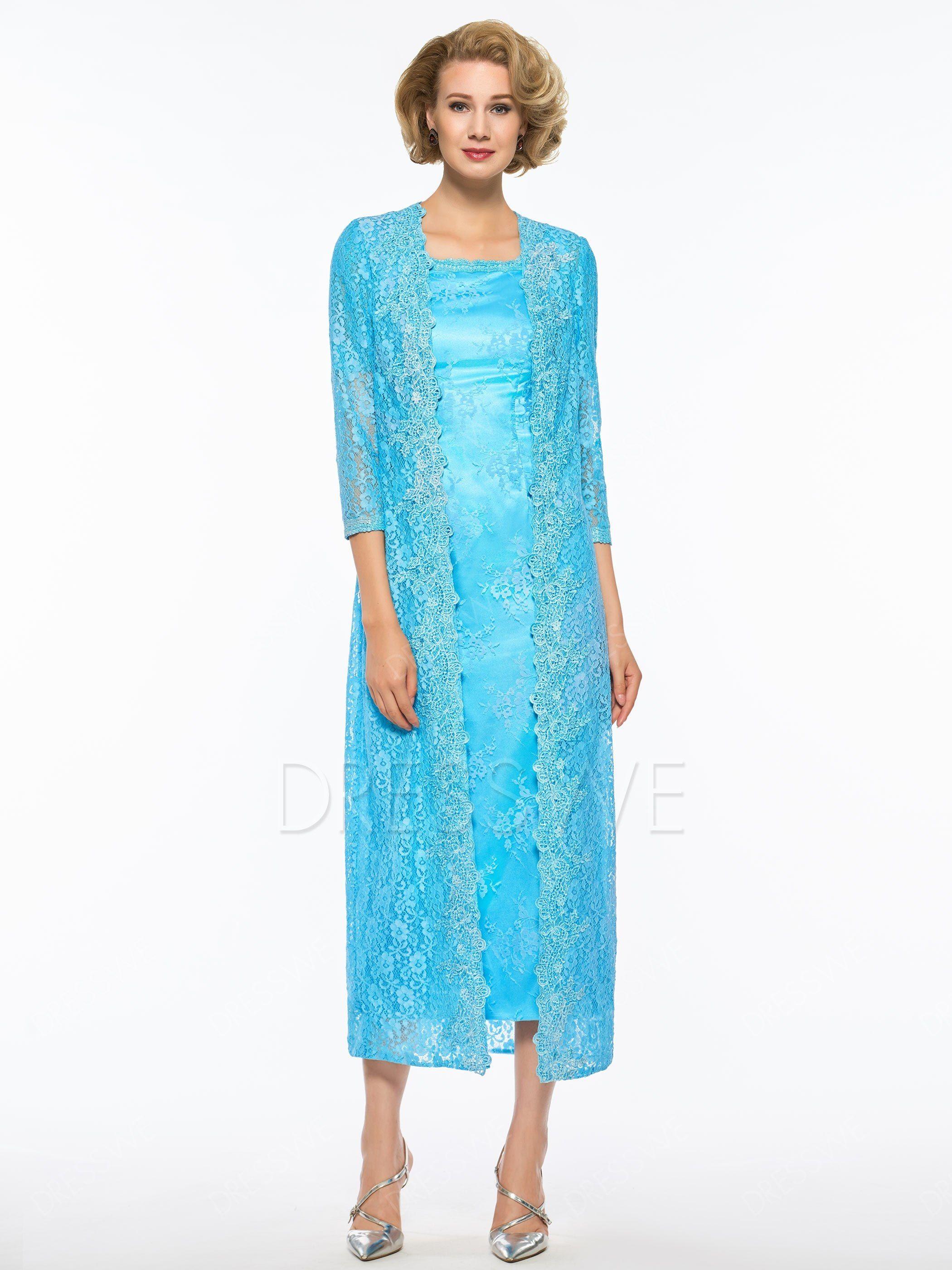 $158.99 Dresswe.com SUPPLIES Elegant Short Sleeves Tea-Length Lace ...