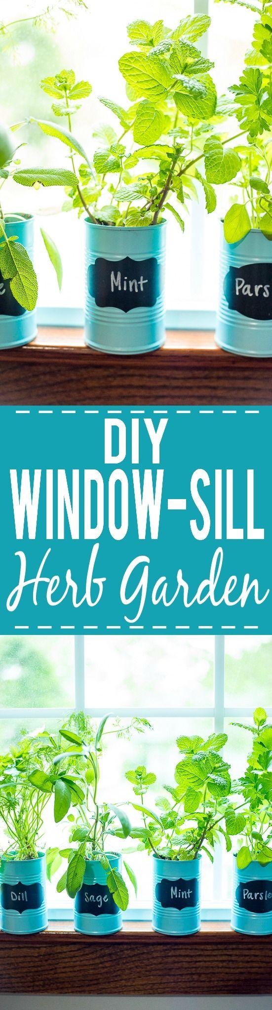 How to Make a DIY Indoor Window Sill Herb Garden - Save money ...