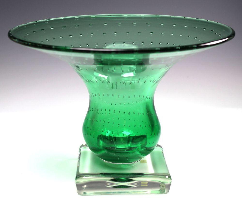 Carl erickson glass green controlled bubble square foot compote carl erickson glass green controlled bubble square foot compote bowl vase rare reviewsmspy