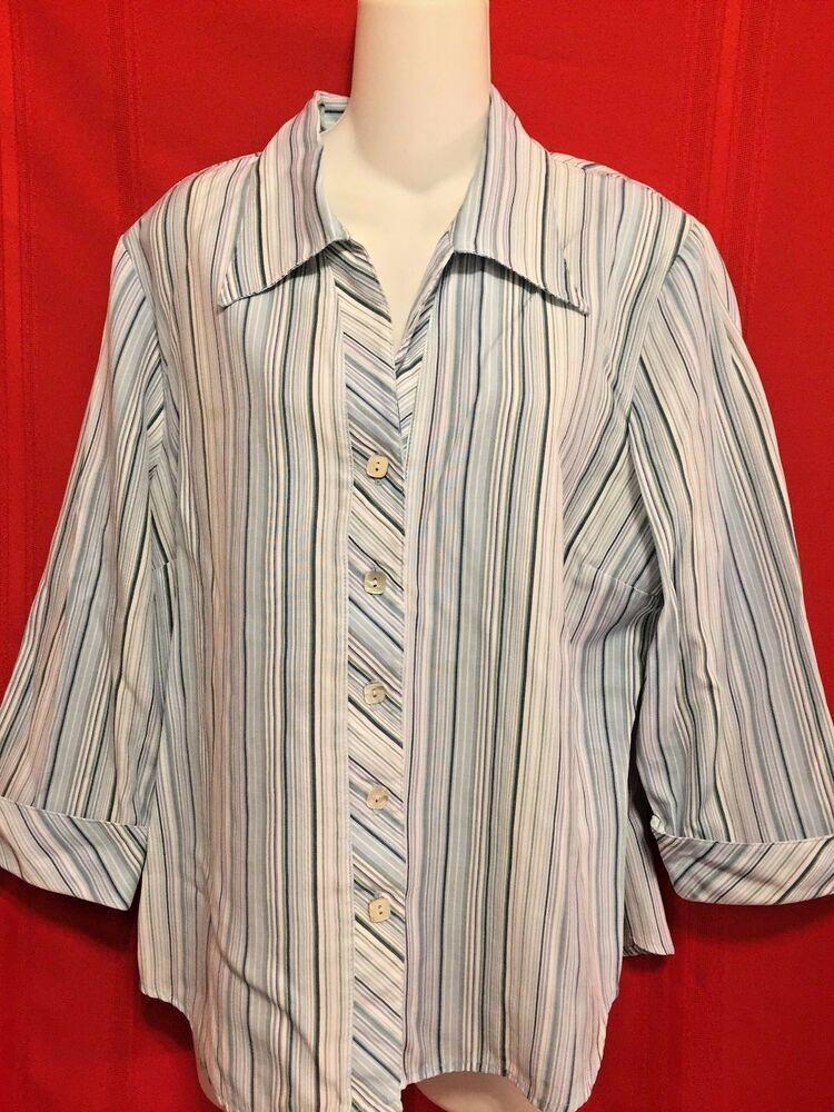 9353ea3c Dress Barn Top Size XL Blue White Gray Stripe 3/4 Cuffed Sleeve Button  Front #Dressbarn #ButtonDownShirt #Career