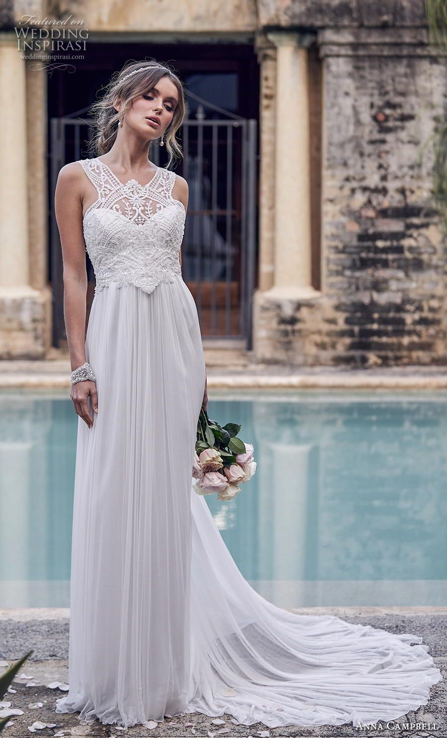 Anna campbell bridal sleeveless halter neck heavily embellished