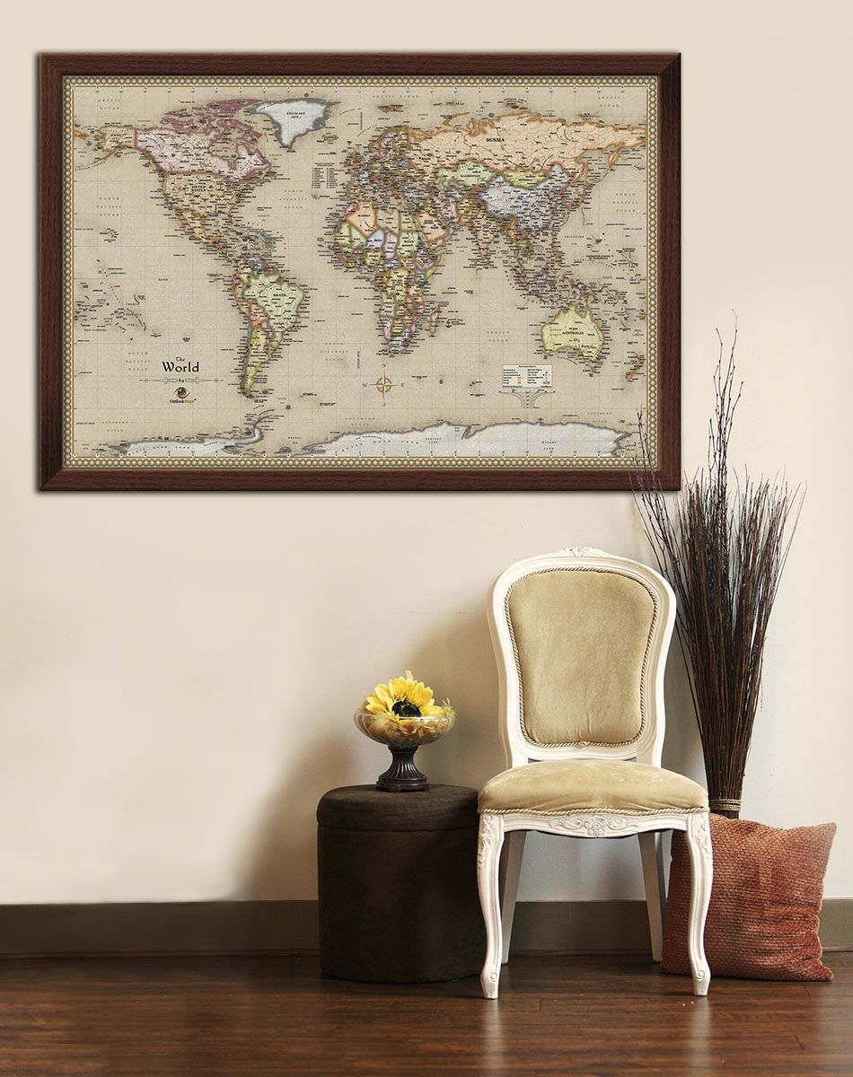 Framed Antique World Map On Display In Home Decor Wall - World map for home