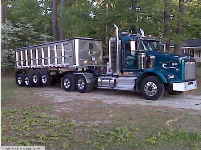 Tractor Trailer Truck Accessories : Kenworth custom t pullin a quad axle dump trucks