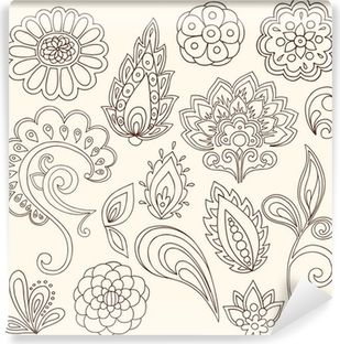 Ornate Henna Paisley Doodle Vector Design Elements Wall Mural • Pixers® - We live to change