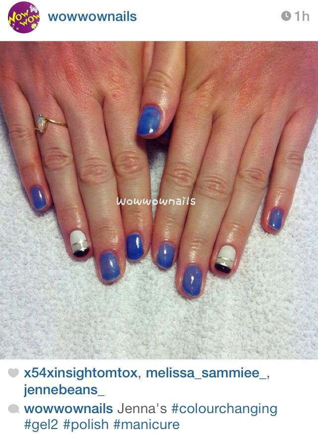 Nail Art and colour changing polish. Gel 2. Blue/ periwinkle nails ...