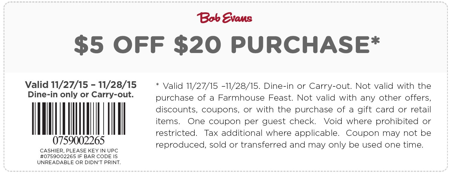 Bob Evans Coupons 20 Off Bob Evans Coupons Evan