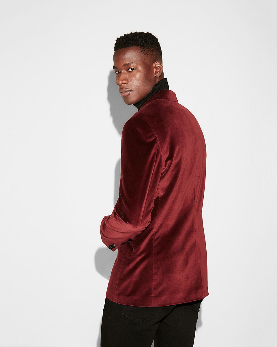27200dc128ca $248 EXPRESS Velvet Tuxedo Blazer - SOLD by EXPRESS - affiliate - Slim  Photographer Burgundy Velvet