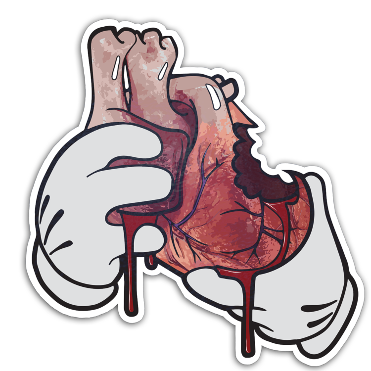 Versus Eat Your Heart Out Sticker Eat Your Heart Out Hands Holding Heart Evil Disney