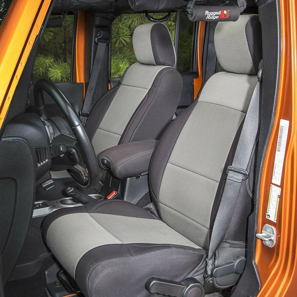 Rugged Ridge Front Rear Neoprene Seat Covers Fits Jeep Jk 2 Door 07 10 Blk Gry Ebay Jeep Wrangler Seat Covers Jeep Wrangler Seats Neoprene Seat Covers