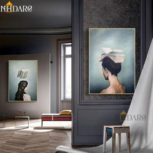 Surrealist Girls And Books Design Canvas Painting Modern Posters And Prints Art Wall Pictures For Living Jpg Modern Poster Picture Wall Posters And Prints