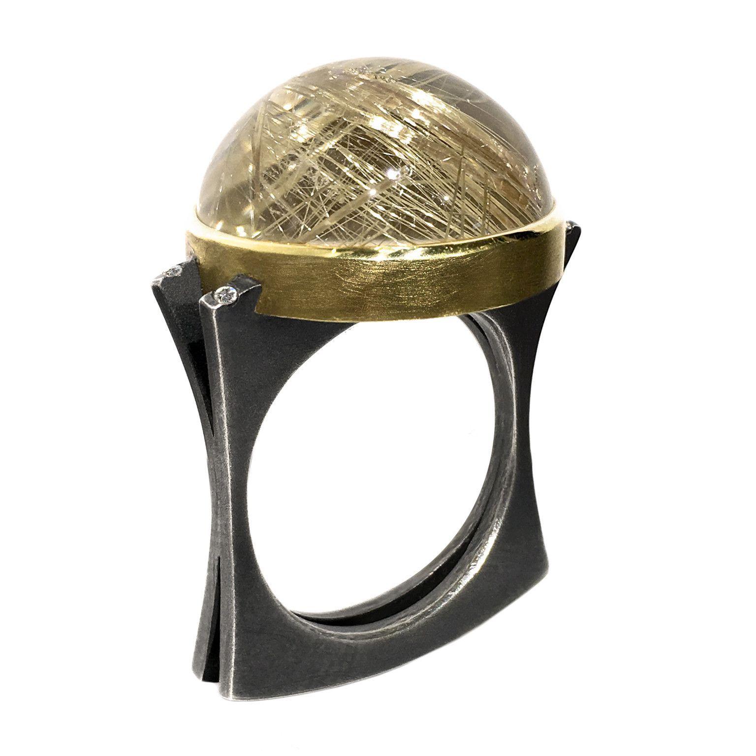 Robin Waynee Golden Rutilated Quartz Diamond Silver Gold Dome Ring