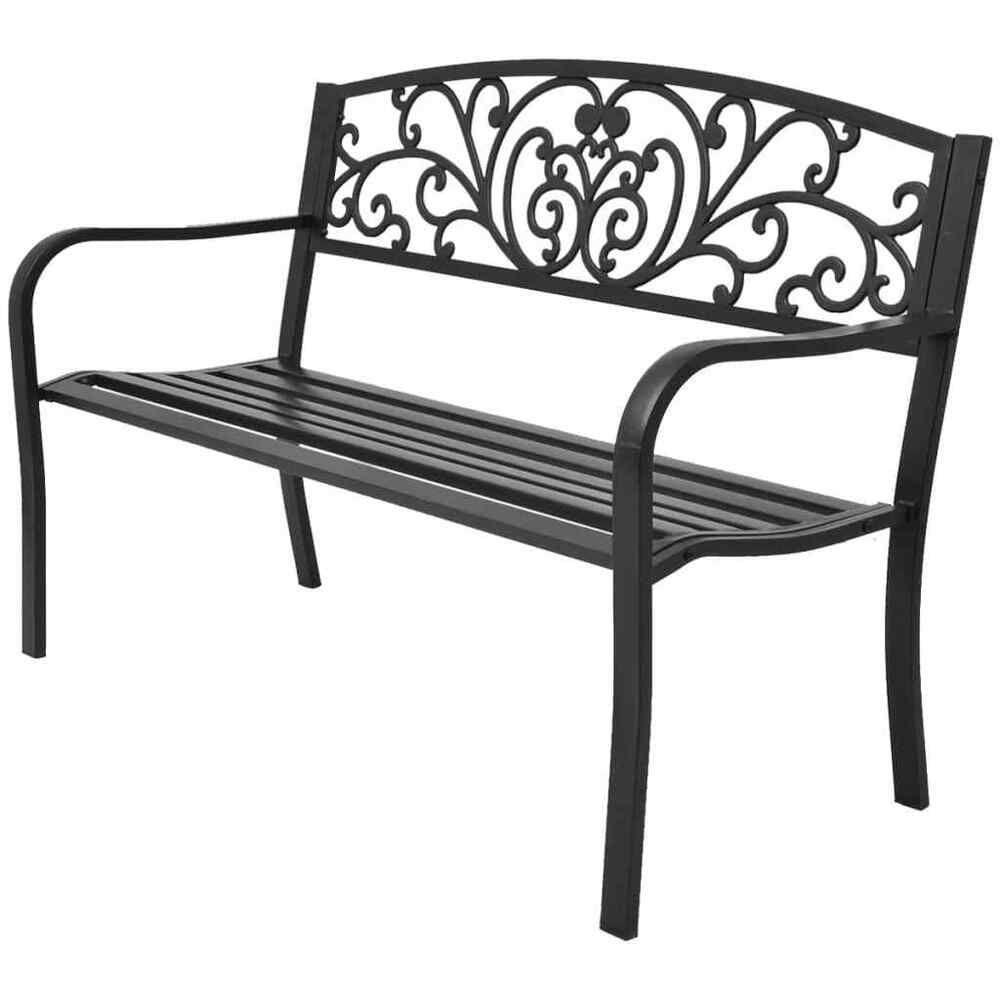 Details About Vidaxl Garden Bench Black Cast Iron Outdoor Garden