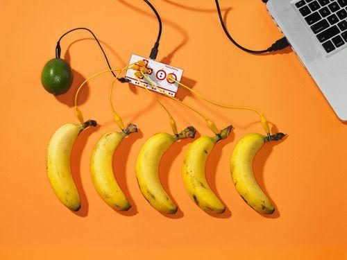 The banana piano from Makey Makey #makerculture                Banana Piano with lime  Photographer David Arky  WIRED UK 11:12