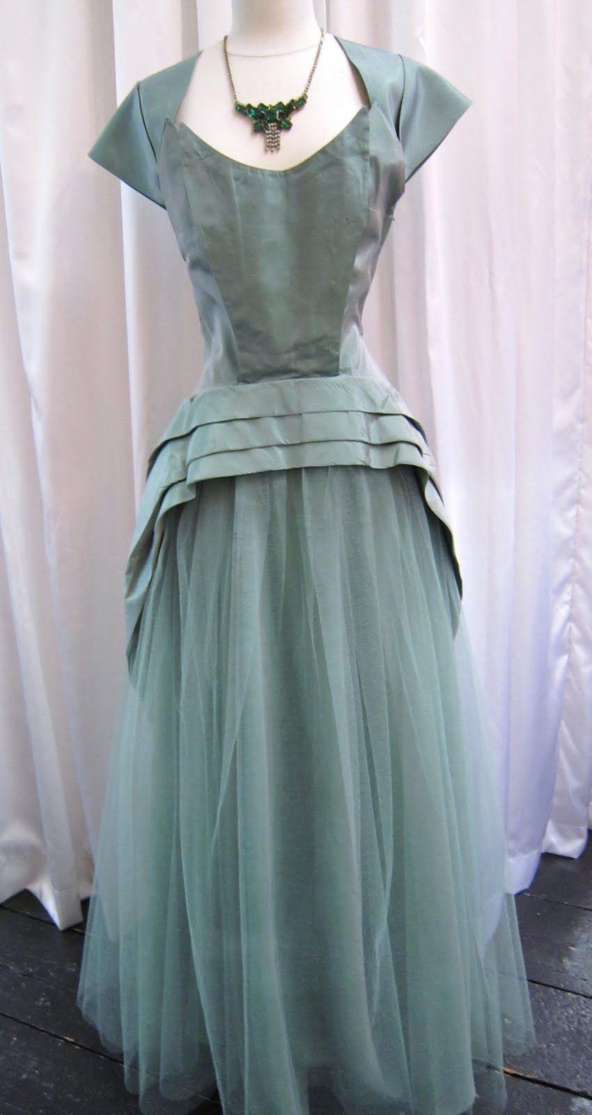 1950s Sage Green Taffeta Gown Evening Dresses Vintage Evening Dresses Vintage Dress Details [ 1600 x 850 Pixel ]
