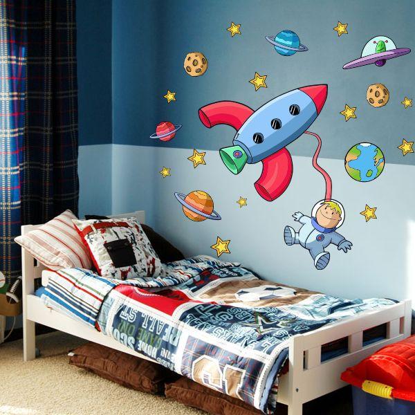 Vinilo infantil astronauta en el espacio planetas for Decorar habitacion bebe nino
