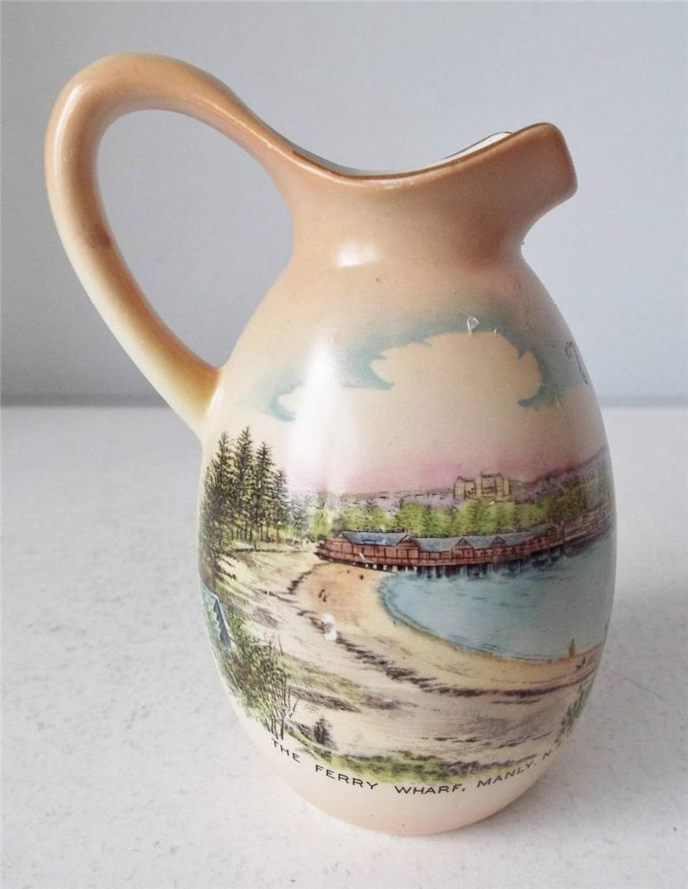 Antique Wileman Shelley China Souvenir Ferry Wharf Manly Nsw Australia Vase Grilling Gifts Shelley Reds Bbq