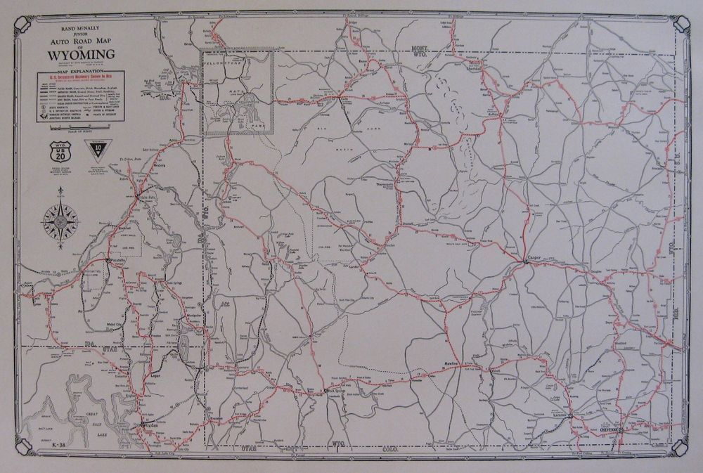 1930 Antique Wyoming State Map Auto Trails Road Map RARE Poster SIZE ...