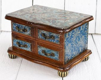 Jewelry Box Blue floral ornament Paisley Shabby Chic Mini chest