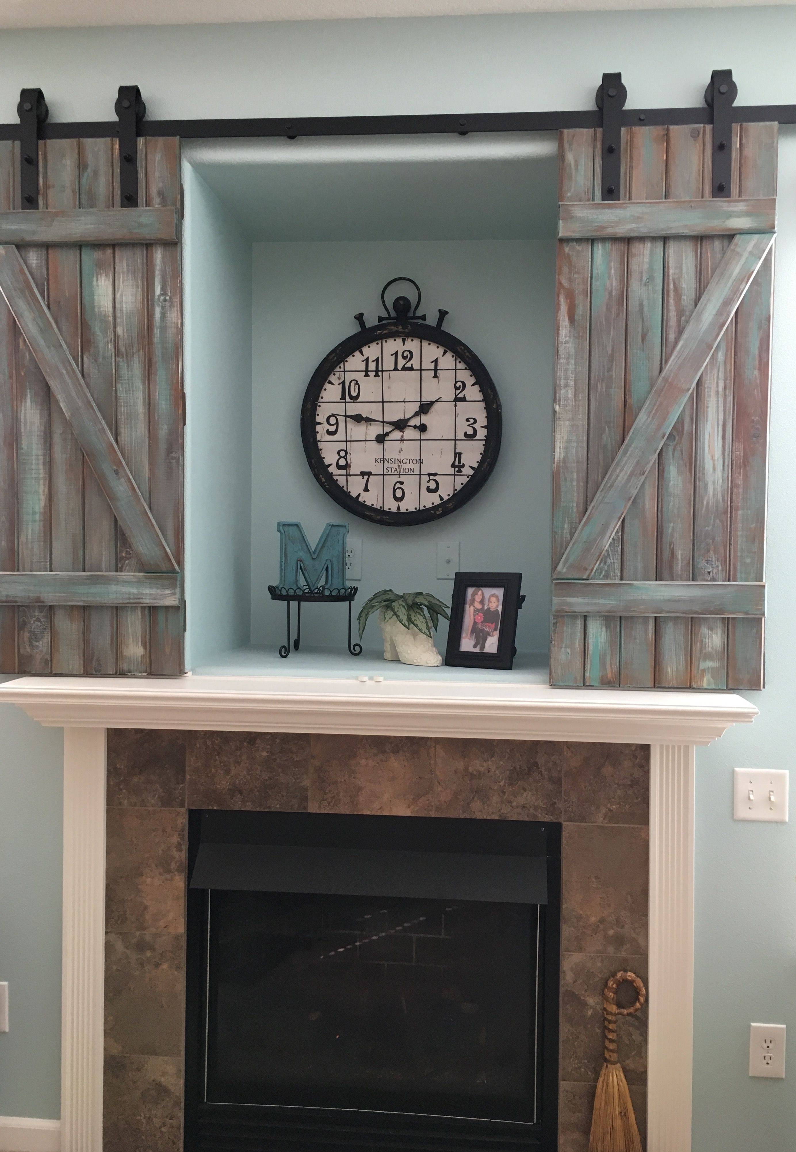 Here We Transformed Our 1990 S Over The Fireplace Tv Hole Into A 2016 Barn Door Feature Over Fireplace Decor Above Fireplace Decor Nook Decor