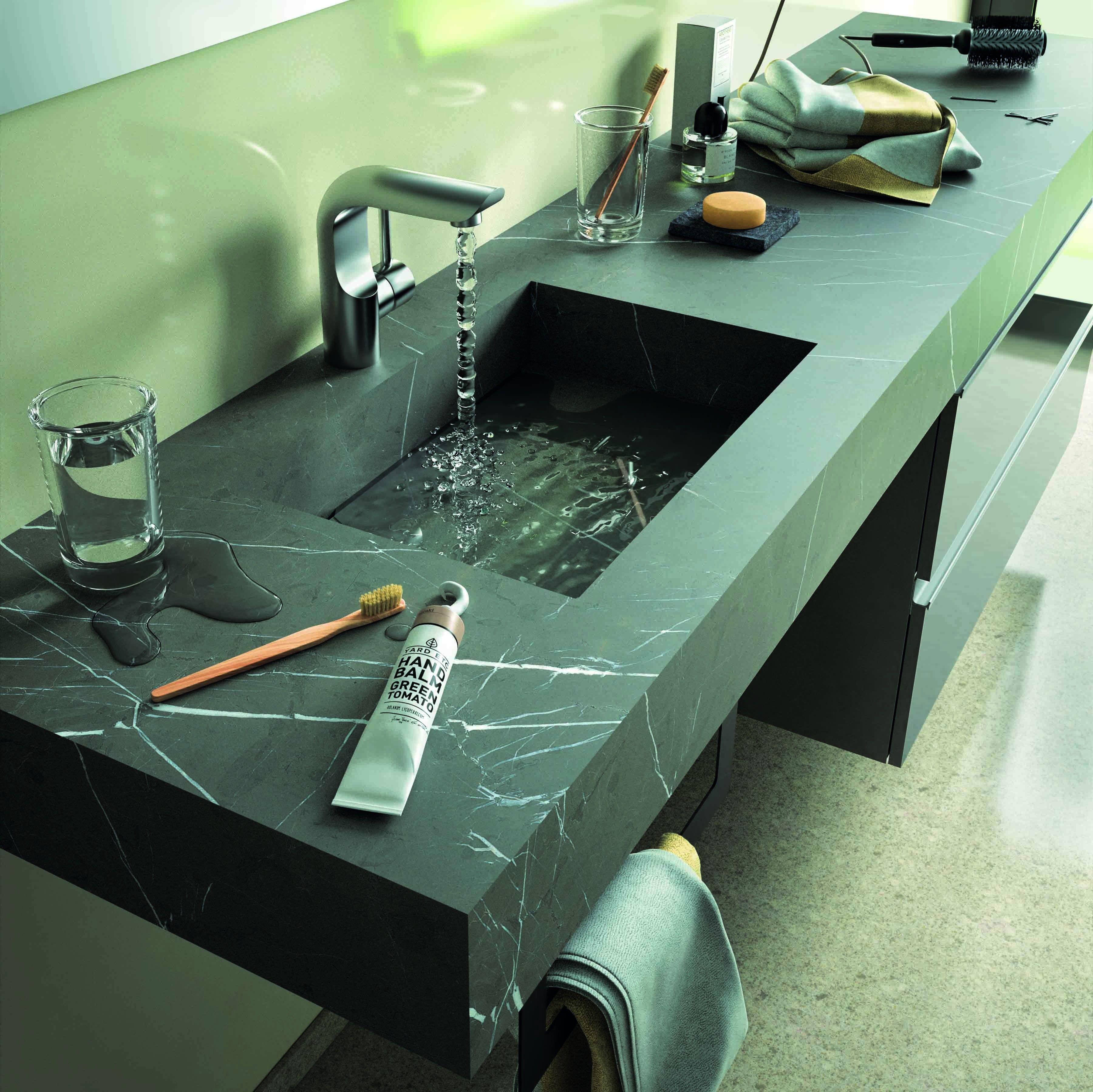 Piani Lavabo Bagno In Pietra.Mensola Stone Lavabo Integrato Pietra Grigia Arredamento