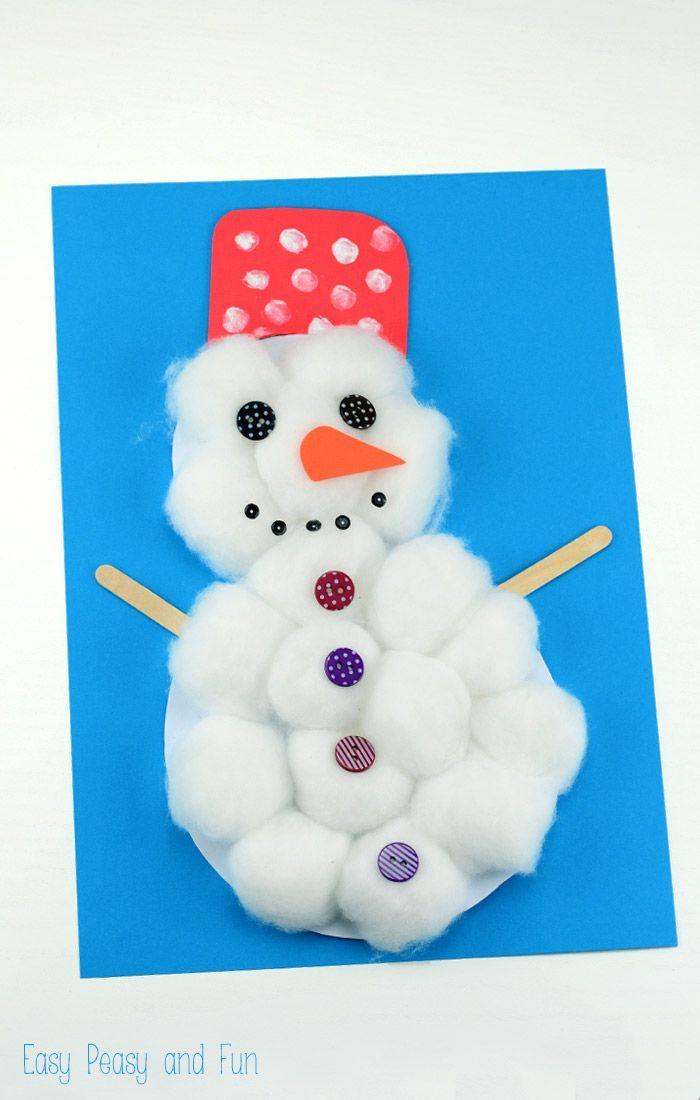 cotton ball snowman craft winter activities for kids snowman crafts christmas crafts for. Black Bedroom Furniture Sets. Home Design Ideas