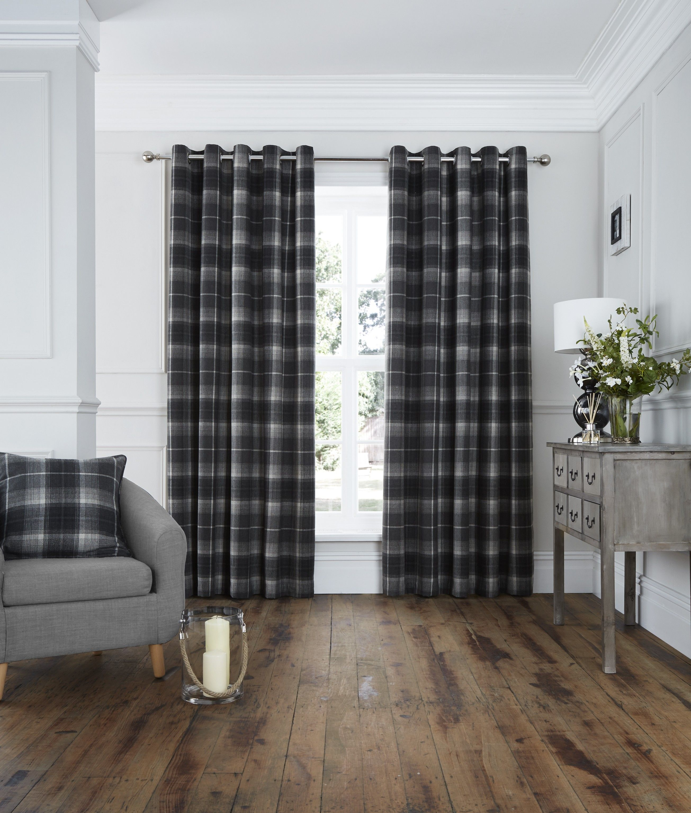 The Archie Curtains Feature A Contemporary Woven Check Design. The Heavy  Weight Jacquard Gives A Full Look Improving The Drape ...