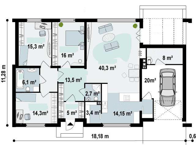 Plano de hermosa casa de 1 piso moderna de 3 dormitorios for Piso 60 metros cuadrados 3 habitaciones