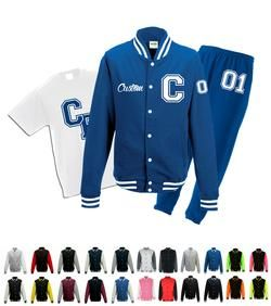 customised gifts sweatsuits blue varsity jackets kit