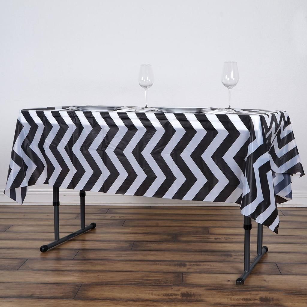 54 X 72 Black 10 Mil Thick Chevron Waterproof Tablecloth Pvc Rectangle Disposable Tablecloth In 2020 Waterproof Tablecloth Chevron Tablecloth Table Cloth