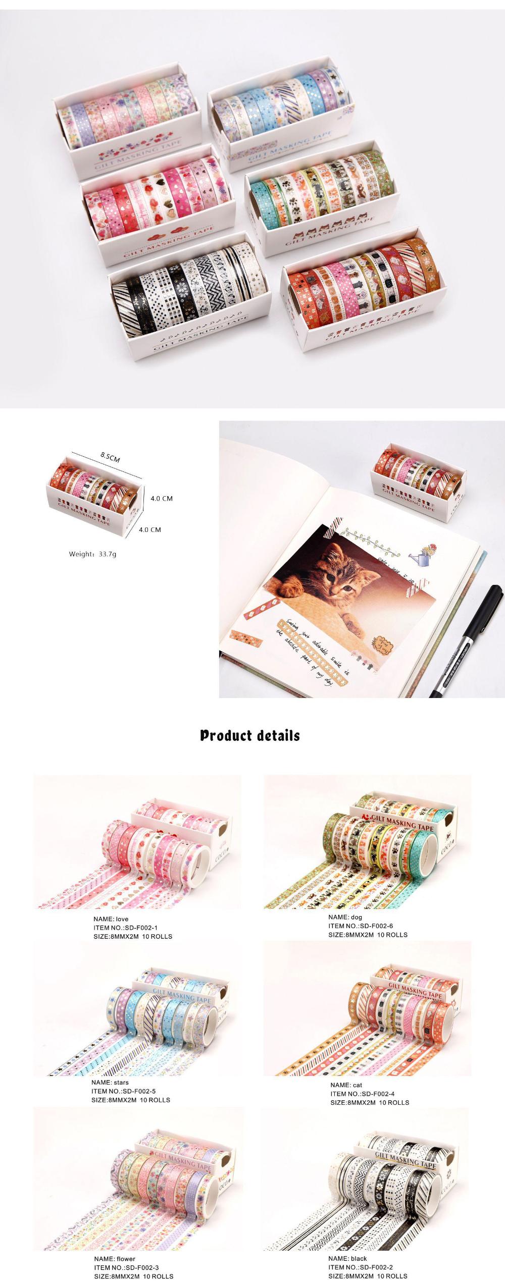 10Rolls/Set Foil Slim Washi Tape DIY Decoration Scrapbooking Planner Masking Tape Adhesive Tape Label Sticker Stationery|Office Adhesive Tape| - AliExpress